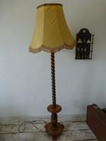Tökéletes állapotú,gyönyörű,antik,faragott álló lámpa,selyem ernyővel
