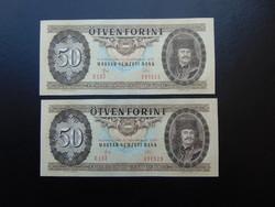 2 darab 50 forint 1983 Sorszámkövető UNC ! 02