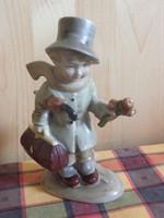 Régi Bertram figurális jelzett porcelán - Fiú táskával, esernyővel, virágcsokorral a kezében -
