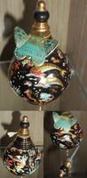 Keleti stílusú antik kerámia parfümtartó_gyönyörű színes mintás parfüm tároló