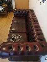 Chesterfield 3 személyes bőr kanapé Angliából