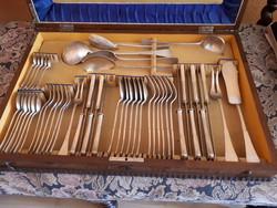 6 személyes ezüst evőeszköz készlet, diannás jelzéssel, 800-as finomsággal, saját dobozában