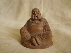 Nevető Buddha fa szobor