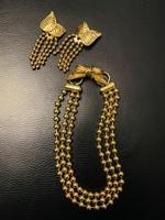 Antik francia vastagon aranyozott jelzett bizsu ékszer szett