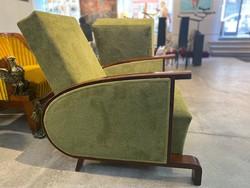 ART DECO olivazöld fotel pár B158