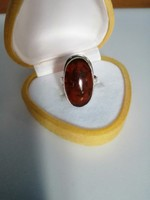 Ezüst Fischland borostyán köves gyűrű