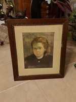 Szőnyi István festmény kislánya portréja! 40x50cm!