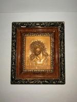 Réz falikép Jézus ábrázolással l 15,5*18 cm (n)