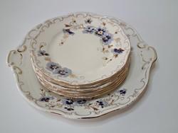 Zsolnay Búzavirág mintás süteményes készlet - Kopottas - II.