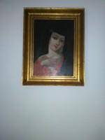 Antik Mária kép. restaurált 45x54 cm