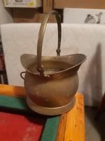Igéző régi réz füles kaspó/széntartó vödröcske