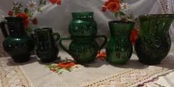 Zöld fekete mintás népi kerámia vázák köcsögök kancsók