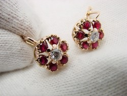 14K arany Orosz Malinka füllbevaló gyémántokkal és rubinokkal gyemant rubin