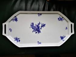 Antik hatalmas kék virágos porcelán tálca  52 x 26 cm