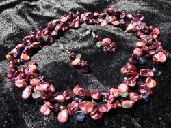 Keshi gyöngy, London kék topáz, lila ametiszt, zöld aquamarin briolett nyakék és fülbevaló szett