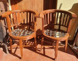 Pair of armchairs, 2 armchairs made of solid hardwood
