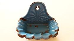 Antik régi zománcos kék fali szappantartó zománcozott fali tartó