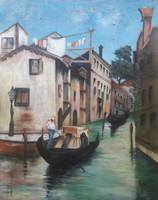 """VELENCEI GONDOLÁS (olaj, vászon, 66x52,5 cm, frissen restaurált, """"Fehér""""?) víz, a lagúnák városa"""