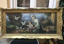 Virgin Mary painting with pigeons