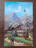 Régi képeslap 1930 körül vidéki tavaszi életkép tájkép levelezőlap
