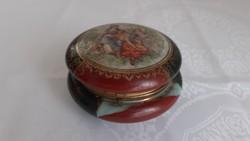 Barokk mintás cseh üveg bonbonier 1900 körül