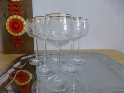 Káprázatos,antik,szecessziós,metszett üveg boros pohár készlet,aranyozott peremmel
