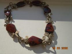 Vintage 7 pcs flat brushed teardrop shaped natural tiger eye mineral filigree bracelet