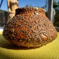 Buborékmintás retro Tófej kerámia váza