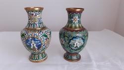 2 db kínai díszes rekeszzománc váza
