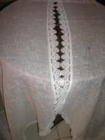 Meseszép különleges csipkés szélű vintage stílusú vitrázs függöny pár