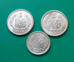 Kína – 3 db-os Lot - 1 Fen, 1975 & 2 Fen, 1985, 1989
