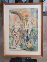 Mikes István József akvarellkép eladó