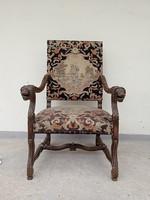Antik reneszánsz dudás gobelin kárpitopzású dúsan faragott oroszlán karfás karos szék karosszék 4198