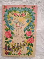 Antik/szecessziós litho/litográfiás képeslap/üdvözlőlap, nefelejcs, rózsa, galamb 1906