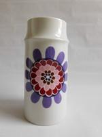 Hollóházi váza retro, hippi korszakot idéző mintával