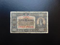 1000 korona 1923 8 fillér Felülbélyegzés ! 02