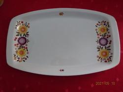 Alföldi porcelán, sárga,  lila virágos ovális húsos tál.