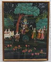 Hintázó Krisna selyemre festett kép