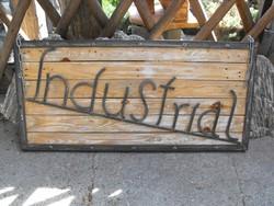 Extra Ritka Ipari kovácsolt Vas Loft Retro industrial  Felirat keretben vintage bútor