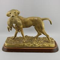 Régi bronz vadászkutya szobor
