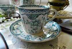 Antik Adderleys Spring angol fajansz csésze és kistányér, teás szett, türkiz, 1850-es évek