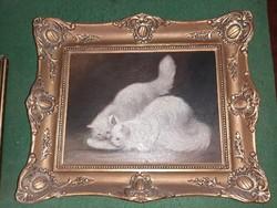 Mesterházy Dénes festmény - Macskák reggelije