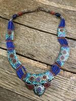 Nepáli kézműves ásvány mozaikos nyaklánc