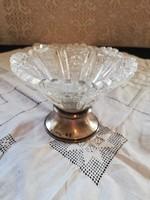 Eladó antik ezüst talpon ólom kristály váza gyönyörű állapotban!