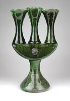 1E243 Zöld mázas háromágú kerámia gyertyatartó 24 cm