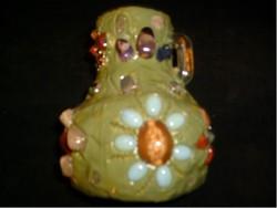 Iparművész Váza ,drága + féldrága + ásvány Ék Kövekkel Díszített ritkaság