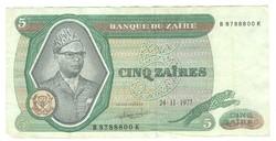 5 zaires 1977 Zaire 3.