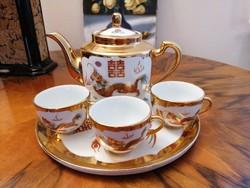 Kézzel festett, dúsan aranyozott kínai, sárkány-és főnix motívumos teáskészlet, nagyon szép