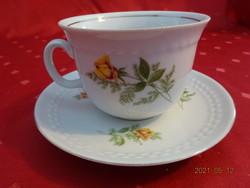 KAHLA GDR német porcelán, sárga rózsás teáscsésze + alátét.