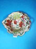 Antik osztrák fajansz asztalközép kínáló, merész színekkel